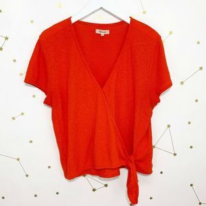 Madewell • Red Texture Thread Wrap Tie Top Tee L